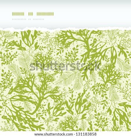 Green underwater seaweed horizontal torn seamless pattern background