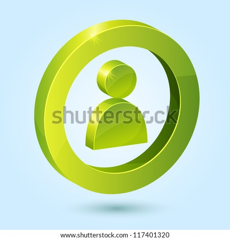 Green user symbol isolated on blue background. This vector icon is fully editable. - stock vector