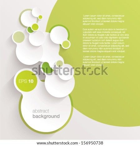 green vector abstract background composed of overlapping white paper circles  - stock vector