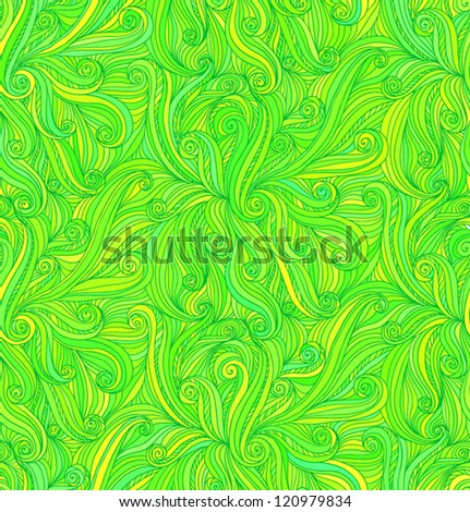 Green vector abstract doodle draw curves seamless pattern