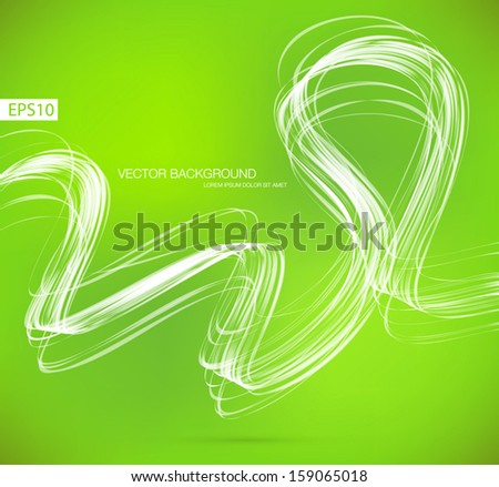 Green vector abstract dynamic ribbon wave background - stock vector