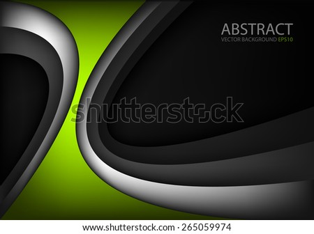 Green vector background curve black and silver line on dark space overlap layer graphic for text and message modern artwork design - stock vector