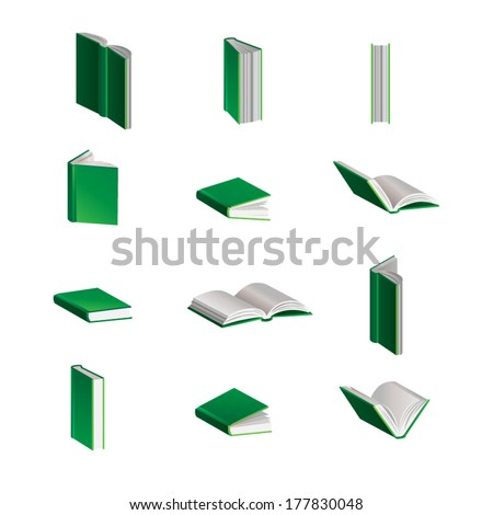 Green Vector Books in Different Positions - stock vector