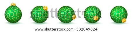 Green Vector Christmas Balls Collection with Starlet Texture - Panorama Bauble Set - Star Pattern - X-Mas Decorations - Each Ball is in Extra Vector Layer, Cleanly Separated - Christmas Tree Decor. - stock vector