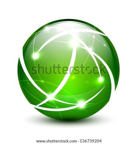 Green vector communication globe icon concept design - stock vector