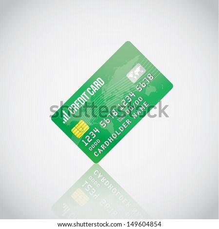 Green Vector Credit Card - stock vector
