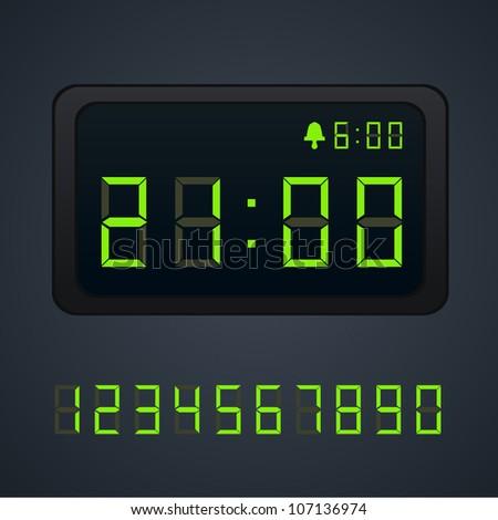 Green Vector digital clock - stock vector
