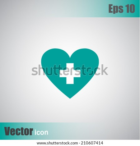Green vector icon on a gray background - stock vector