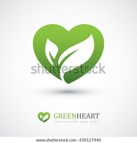 Green vector icon with heart shape and two leaves. Can be used for eco, vegan, herbal healthcare or nature care concept logo design - stock vector