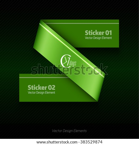 Green vector infographics design. Infographic for presentation, banner web design, flyers or design elements. Infographic ribbons. The same illustration without sample texts in my portfolio. - stock vector