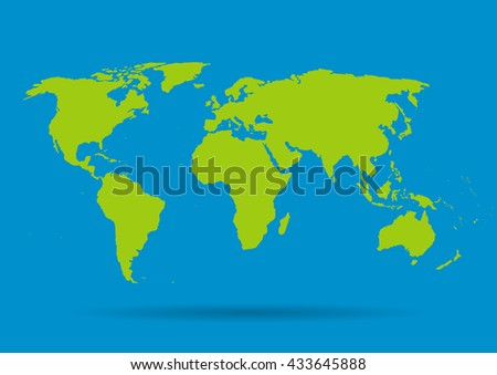 Green vector map on a blue background. - stock vector