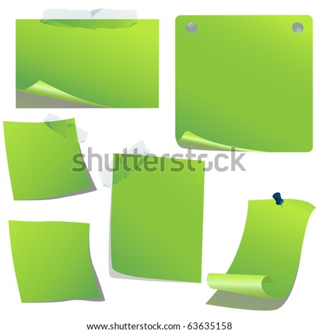 Green vector paper isolated on white - stock vector