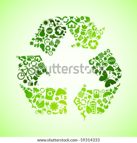 Green vector recycle icon - stock vector