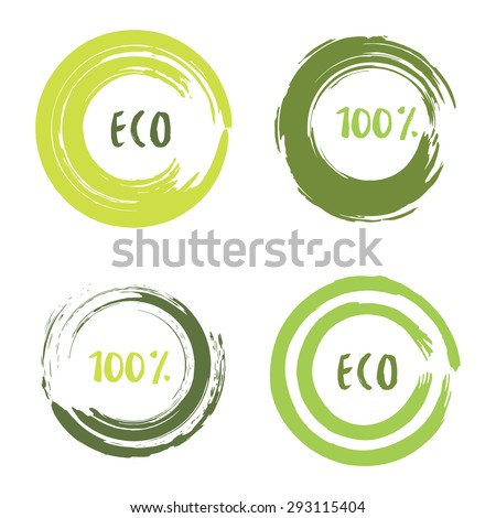 Green vector set with circle brush strokes for frames, icons, banner design elements. Grunge eco decoration. Label