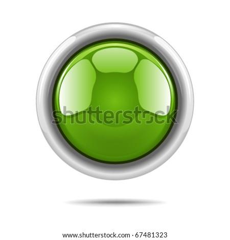 Green vector shiny button - stock vector