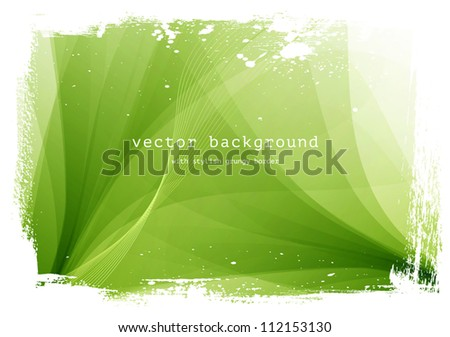 Green vector smooth wavy background with grungy border - stock vector