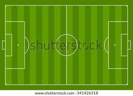 Green vector soccer field background. Sport graphic design - stock vector