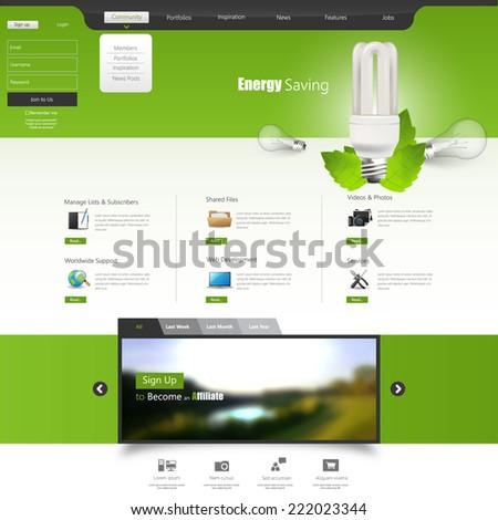 Green vector website template with light bulb, Energy Save Theme  - stock vector