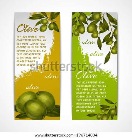 Green vegetable organic food olives vertical banners set isolated vector illustration - stock vector