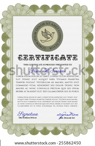Green vertical diploma or certificate template with sample text. Complex frame design. Excellent quality design.