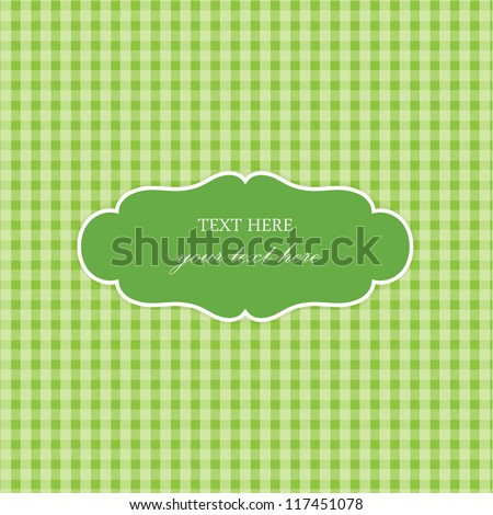 Green Vintage Card, Plaid Design - stock vector