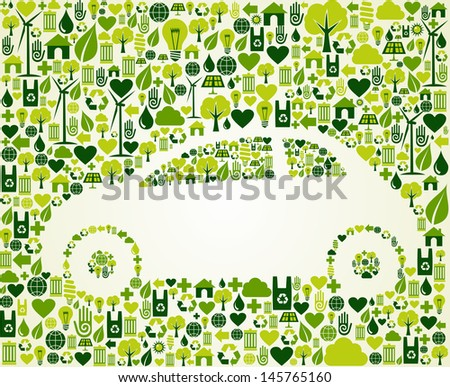 Green vintage light car design eco friendly sketch  . This illustration is layered for easy manipulation and custom coloring - stock vector