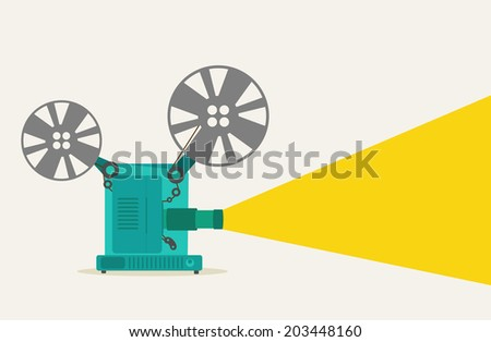 green vintage movie projector super 8 - stock vector