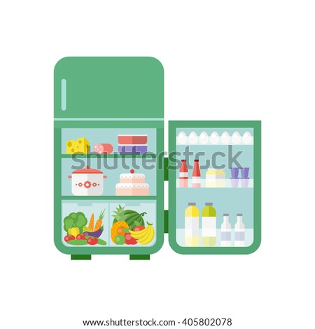 Green vintage outdoor refrigerator with food isolated on white background. Flat illustration. Vector 10 EPS. - stock vector