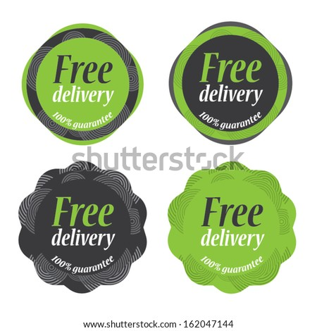 Green vintage Sticker Free delivery tag collection - Vector illustration - EPS10  - stock vector