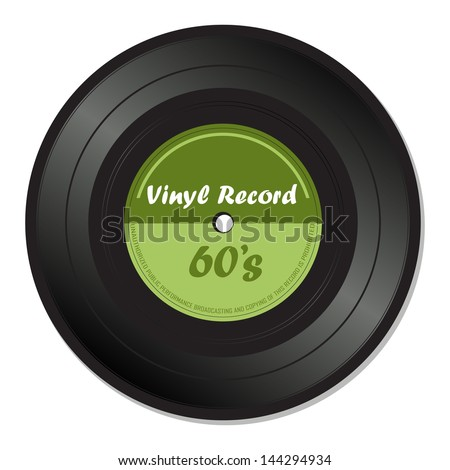Green vinyl record with the text the sixties isolated on a white background - stock vector