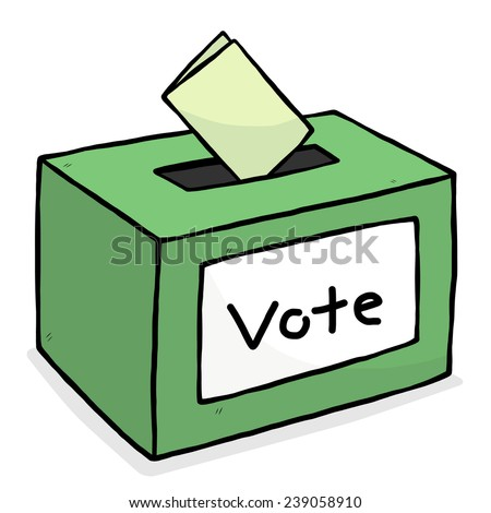 green vote box / cartoon vector and illustration, hand drawn style, isolated on white background. - stock vector