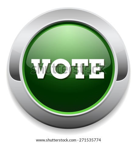 Green vote button with metal border on white background - stock vector