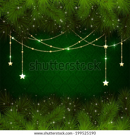 Green wallpaper with branches of Christmas tree and gold decorative elements, illustration. - stock vector