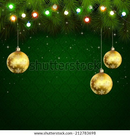 Green wallpaper with branches of Christmas tree, baubles and colored light bulbs, illustration. - stock vector