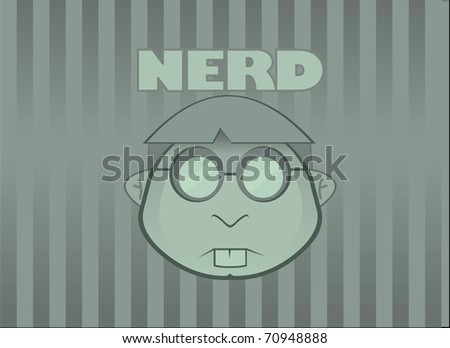 Green Wallpaper with simple NERD face and tag. Vector illustration - stock vector