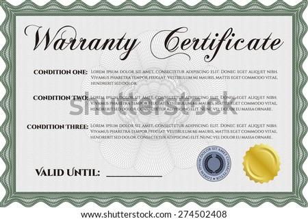 Green warranty certificate  - stock vector