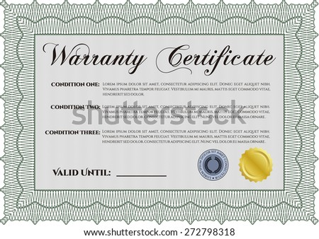 Green warranty certificate template