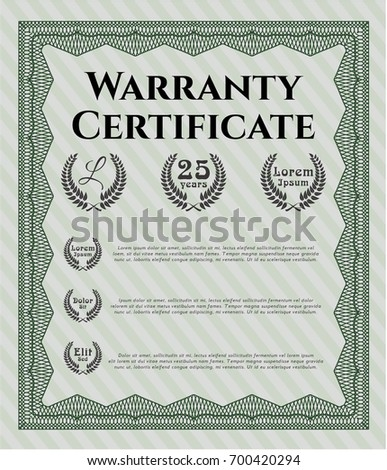 Green sample certificate diploma customizable easy stock vector green warranty certificate template with guilloche pattern good design vector illustration yelopaper Choice Image