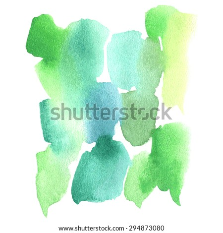 Green watercolor background. Watercolor streaks. Green watercolor dripping strokes. Abstract watercolor background.  Watercolor brush strokes, streaks, drips and stains. - stock vector