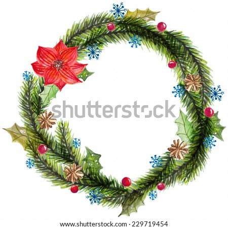 Green watercolor christmas wreath with decorations  over white, Vector - stock vector