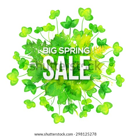 Green watercolor clovers vector spring sale banner - stock vector