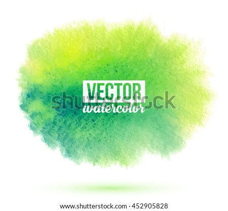 Green watercolor flow vector stain isolated on white background - stock vector