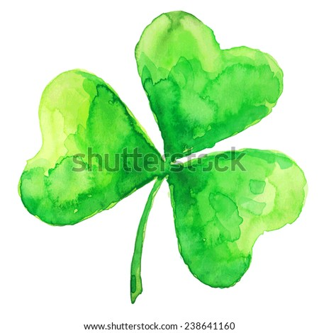 Green watercolor isolated vector clover - stock vector