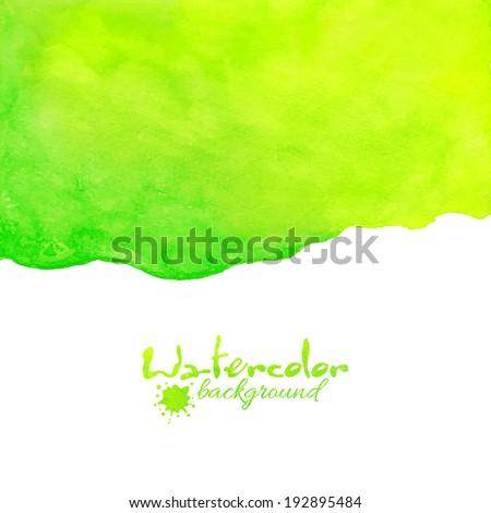 Green watercolor vector background - stock vector