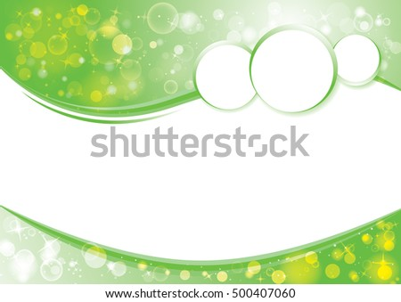 Green wave business template with sparkle bokeh modern texture pattern for message website design. Abstract vector business background design.
