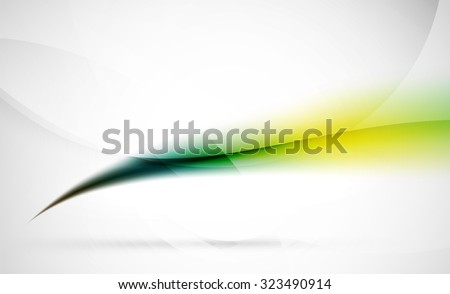 Green wave line in light space. Abstract background for your message - stock vector