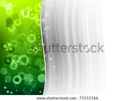 green wave on the grey background - stock vector