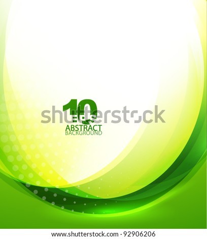 Green wave template - stock vector