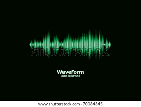 Green waveform - stock vector