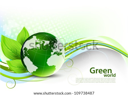 Green wavy concept with globe and leaves